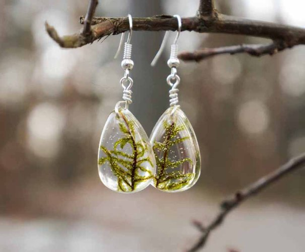 Real Botanical Moss Drop Earrings Set in Resin
