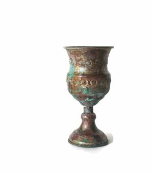 Underlyingsimplicity ~ Vintage ornate flower embossed copper goblet