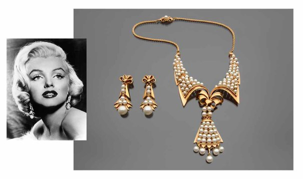 Earrings and collar necklace Earrings worn by Marilyn Monroe in Some Like it Hot (1959) Joseff of Hollywood metal, faux pearls