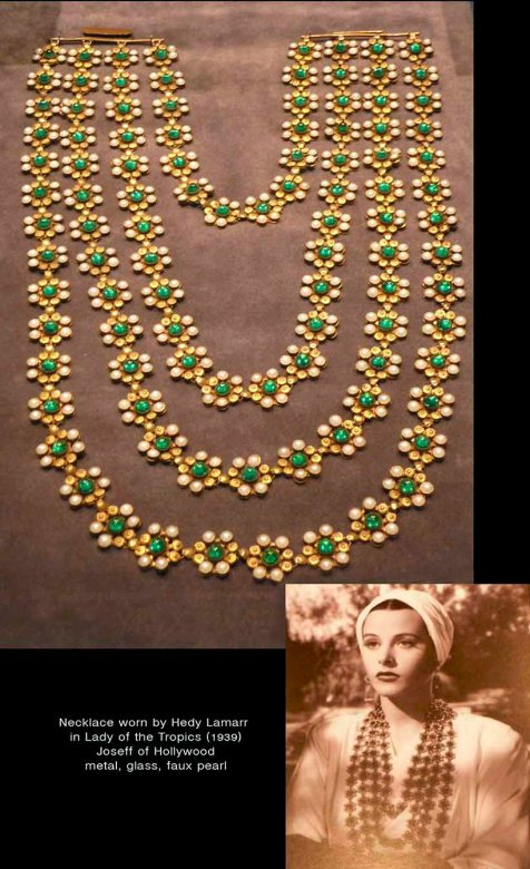 Hedy Lamarr [b. 1914–d. 2000] Necklace Worn by Hedy Lamarr in Lady of the Tropics (1939) Joseff of Hollywood metal, glass, faux pearls