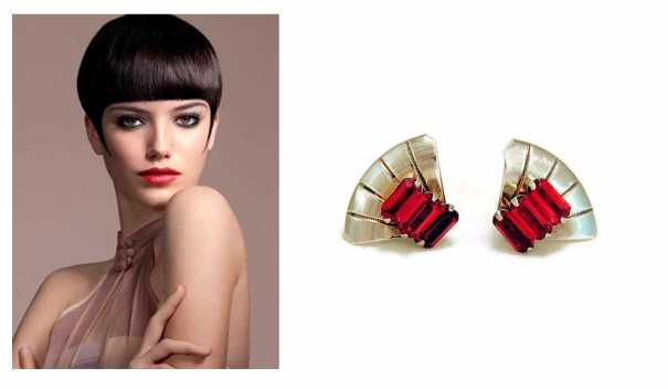 RefinedRuffian ~ 1930s Art Deco Sterling Silver Red Glass Fan Earrings