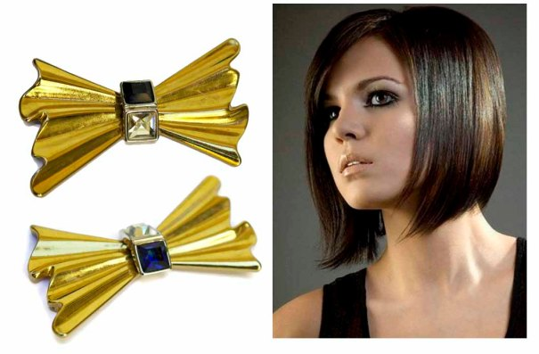 LeBonheurDuJour ~ Sapphire Blue and Clear Rhinestone Bow Gold Toned Pendant Brooch