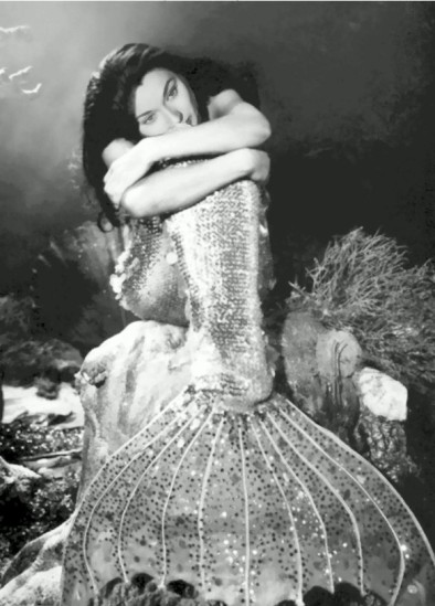 Ann Blyth in her Joseff's of Hollywood Mermaid costume, resting between scenes. Mr Peabody and the Mermaid, 1948.