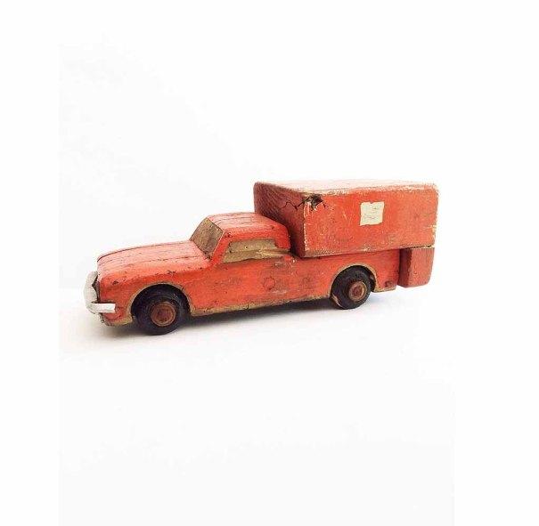 VintageFunkHouser ~ American Folk Art Orange Hand Made Carved Wooden Truck