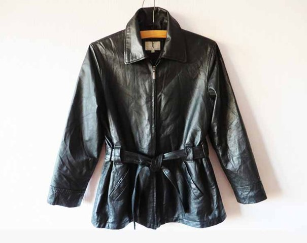 VintageDreamBox ~ Womens Black Leather Double Breasted Trench Coat