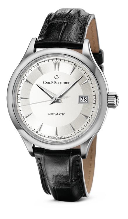 Carl F. Bucherer ~ Manero Autodate Watch. Louisiana alligator skin, stainless steel pin lock clasp.