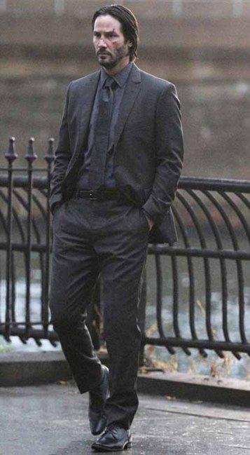 Keanu Reeves on set of John Wick