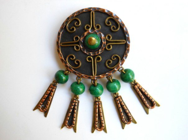 Brooch Pendant | Copper | Beaded Necklace | Mexican Jewelry |