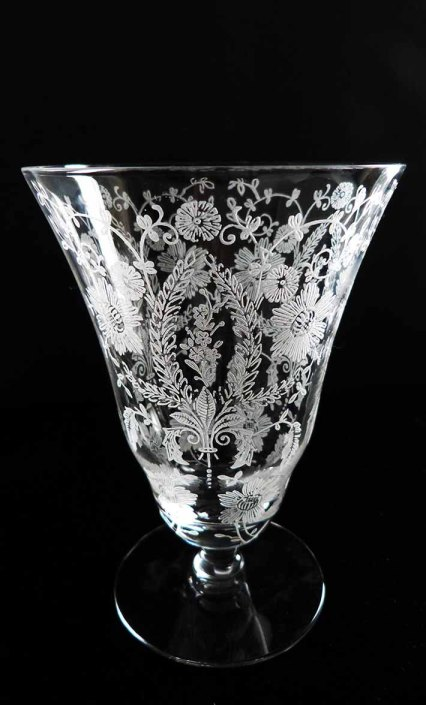 Late 1910 Victorian Hand Blown Fluted Crystal Etched Flower & Vines Footed Vase Hollywood Regency Absinthe Drinking Glass Boudoir