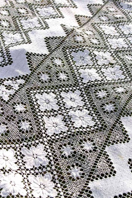 940s Antique Hand Crochet Off White French Cotton Tablecloth 87 x 64 Zig Zag Geometrics Flowers Bed Coverlet