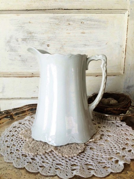 Large Antique Ironstone Pitcher at GypsyRoadMarket