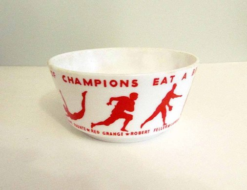 Vintage 1930s Wheaties milk glass bowl at wonderdiva