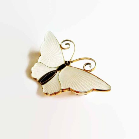 White Enamel Sterling David-Andersen Butterfly Pin Brooch at baublology