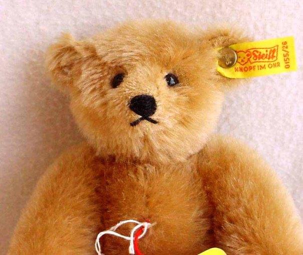 Steiff Blonde Mohair Teddy Bear Circa 1980s at Kissisjustakiss