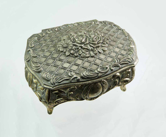 Ornate FLOWER Bouquet Silver & Gold Toned Jewelry Box | Embossed Casket | Trinket Box Engagement Ring Box| Made in Japan