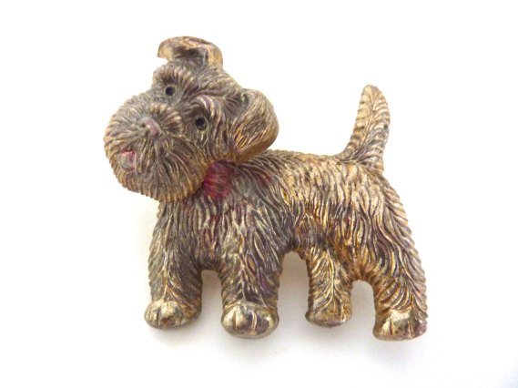 1940s Terrier Celluloid Brooch Swiveling Head