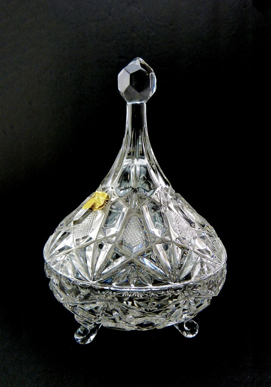 Western Germany Lead Cut Crystal Covered Three Footed Candy Dish