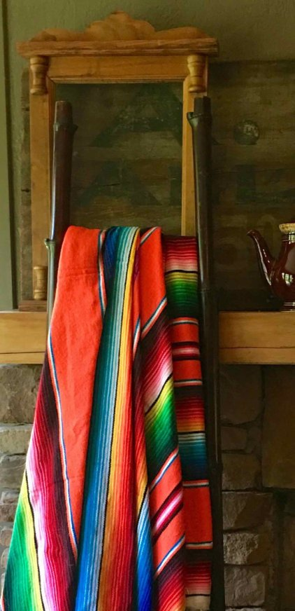 Vintage Mexican Saltillo Blanket in Bright Sunset Colors at putnamandspeedwell