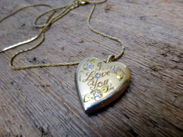 Gold Filled I Love You Heart Locket w/ Chain at TheRecycleista